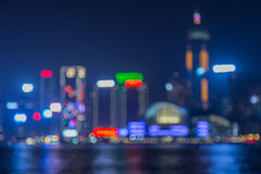 Blurred Photo bokeh, Hongkong Skyline at Night Royalty Free Stock Image