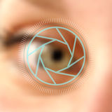Blurred photo eye camera lens concept Royalty Free Stock Photo