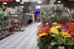Blurred photo of a flower department. In a supermarket economy customer mall rack goods consumer warehouse discount search interior delivery business industry stock images
