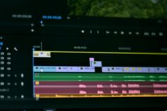 Blurred photo of Timeline video and sounds of video editing tool stock photography