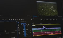 Blurred photo of Timeline video and sounds of video editing tool royalty free stock image