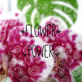 Blurred photographic background and text Flower. Vector illustration. Blurred photographic background with orchid, Monstera and text Flower power Royalty Free Stock Photos