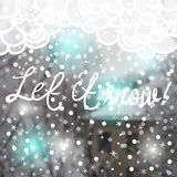 Blurred photographic background and text. Vector illustration. Blurred photographic background with house, trees, snow and text Royalty Free Stock Images