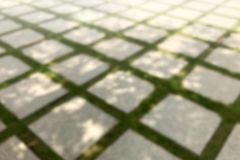 Blurred Picture of Concrete Block Floor in the garden ground, Blurred of Brick with manicured lawn background. The Blurred Picture of Concrete Block Floor in the royalty free stock photo