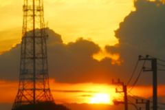 Blurred picture electrical energy for background and sunset. The blurred picture electrical energy for background and sunset stock photography