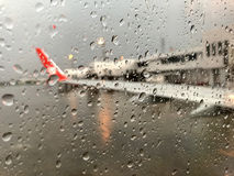 The blurred picture of runway that is raining outside stock photography