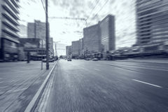 Blurred picture of the wide street. Royalty Free Stock Photo