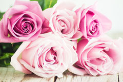 Blurred pink roses on wooden background. Blurred pastel roses on grey wooden background Stock Images