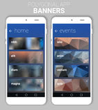 Blurred Polygonal Banners Kit Royalty Free Stock Photography