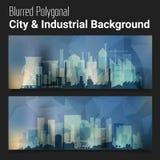Blurred Polygonal Header Slider Webdesign Kit with City Skyline Stock Image