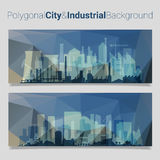 Blurred Polygonal Header Slider Webdesign Kit with City Skyline Stock Photo