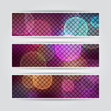 Blurred purple banners set with mosaic and light Royalty Free Stock Photo