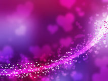 Blurred purple sparkles and glowing line. Heart sh. Blurred purple sparkles and glowing central line. Boken effect. Beautiful forms. Heart shapes Royalty Free Stock Photography