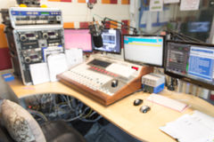 Blurred radio studio. And mixer Royalty Free Stock Photography