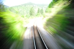 Blurred railroad from fast train. Empty railroad trck with blur effect stock photography