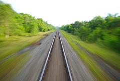Blurred Railway Track. On the way to Surat Thani, Thailand Royalty Free Stock Photography