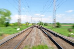 Blurred railway track Stock Photography