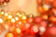 Blurred red and gold Christmas baubles background Royalty Free Stock Images