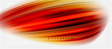 Blurred fluid colors background, abstract waves lines, vector illustration. Blurred red and orange fluid colors background, abstract waves lines, mixing colours royalty free illustration