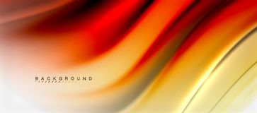 Blurred fluid colors background, abstract waves lines, vector illustration. Blurred red and orange fluid colors background, abstract waves lines, mixing colours vector illustration