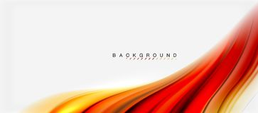 Blurred fluid colors background, abstract waves lines, vector illustration. Blurred red and orange fluid colors background, abstract waves lines, mixing colours Royalty Free Stock Photography