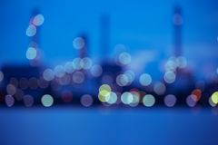 Blurred refinery plant at dawn stock image
