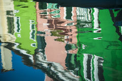 Blurred reflections of houses, Burano, Italy Royalty Free Stock Image