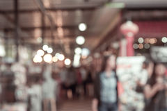 Blurred restaurant in public market with bokeh Royalty Free Stock Image