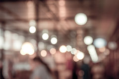 Blurred restaurant in public market with bokeh Royalty Free Stock Photography