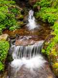 Blurred river stream detail. Of wild rocky mountain river. Silky effect. Motion rendition effect. Slow shutter speed effect. Long exposure effect Stock Photo