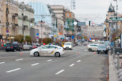 Blurred road block by traffic police. City Royalty Free Stock Images