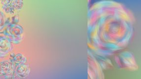 Blurred Rose flowers on a beautiful background of color of the rainbow. vector illustration