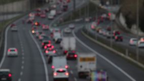 Blurred scene in the afternoon,traffic of entry of Barcelona.(real time) stock video footage