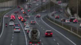 Blurred scene in the afternoon,traffic of entry of Barcelona.(time lapse) stock footage