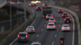 Blurred scene in the afternoon,traffic of entry of Barcelona.(time lapse) stock video