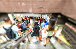 Blurred scene of fast moving crowd in subway station Royalty Free Stock Photography