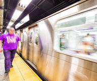 Blurred scene of fast moving subway train in Manhattan subway Stock Image