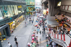 Blurred scene of people on walking street of Siam Square Stock Image