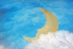 Blurred scene of sleeping moon with night sky background. Stock Photo