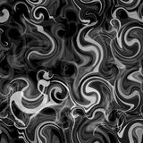Blurred seamless pattern with grunge swirled smoky white stripes on black background. For web design Royalty Free Stock Photography