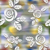Blurred seamless wavy pattern with roses.  3D Stock Image