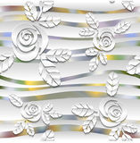 Blurred seamless wavy pattern with roses.  3D Stock Photo