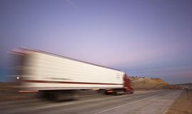Blurred semi on the road Royalty Free Stock Images