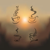 Blurred set of coffee cup- illustration Royalty Free Stock Images