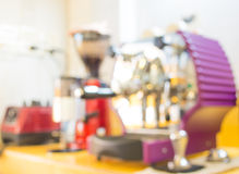 blurred shot of coffee machine on the table Royalty Free Stock Images