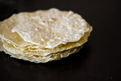 Blurred shot of homemade round tortillas stock photography