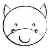 blurred silhouette caricature face cute bull animal Royalty Free Stock Photography