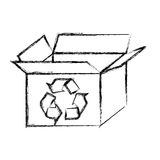 blurred silhouette carton box with recycling symbol Royalty Free Stock Photos