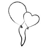 Blurred silhouette couple balloons Flying romantic celebration Stock Photo