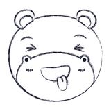 Blurred silhouette cute face of hippo sticking out tongue expression. Vector illustration Stock Photo